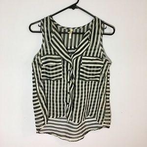 Dressy black and white striped tank S
